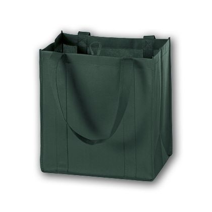 Hunter Green Unprinted Non-Woven Market Bags, 12 x 8 x 13""