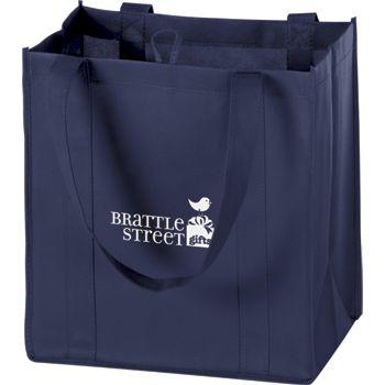 Navy Non-Woven Market Bags, 12 x 8 x 13
