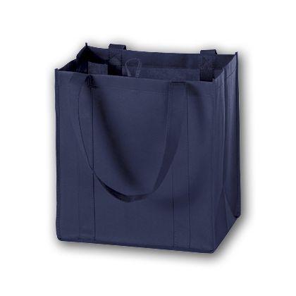 Navy Unprinted Non-Woven Market Bags, 12 x 8 x 13