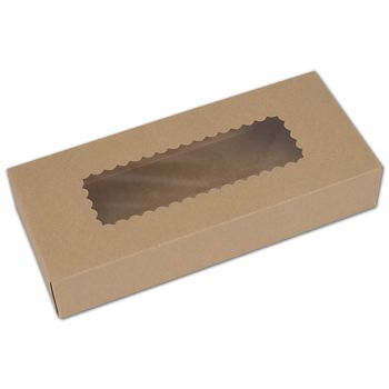 Kraft Windowed Bakery Boxes, 1 Piece, 12 1/2x5 1/2x2 1/4