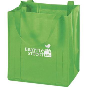 Lime Non-Woven Market Bags, 13 x 10 x 15