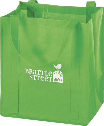 """Lime Non-Woven Market Bags, 13 x 10 x 15"""""""