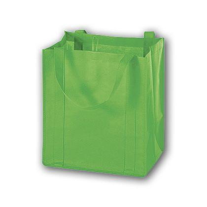 Lime Unprinted Non-Woven Market Bags, 13 x 10 x 15