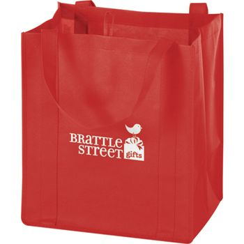 Red Non-Woven Market Bags, 13 x 10 x 15