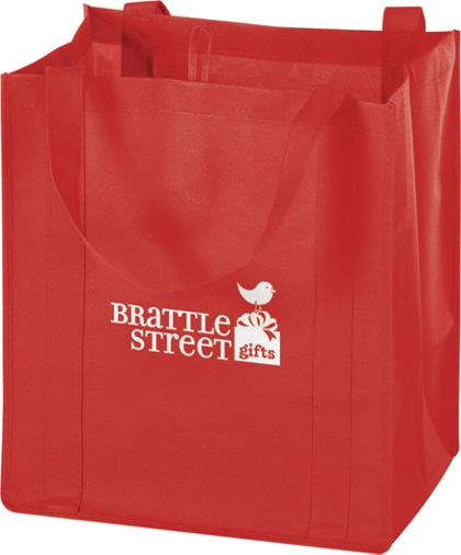 Red Non-Woven Market Bags, 13 x 10 x 15""