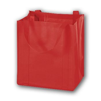 Red Unprinted Non-Woven Market Bags, 13 x 10 x 15