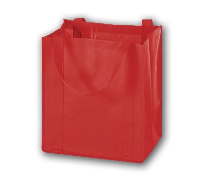 Red Unprinted Non-Woven Market Bags, 13 x 10 x 15""