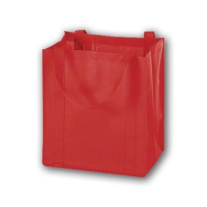 "Red Unprinted Non-Woven Market Bags, 13 x 10 x 15"""
