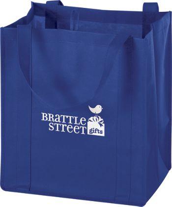 Royal Blue Non-Woven Market Bags, 13 x 10 x 15
