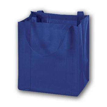 Royal Blue Unprinted Non-Woven Market Bags, 13 x 10 x 15