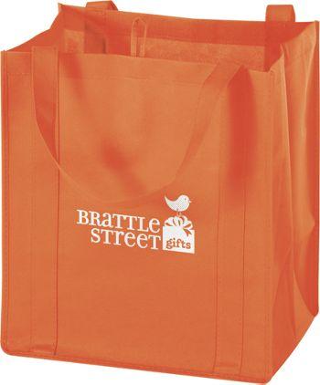 Orange Non-Woven Market Bags, 13 x 10 x 15
