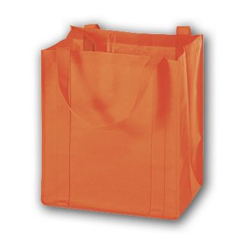 Orange Unprinted Non-Woven Market Bags, 13 x 10 x 15