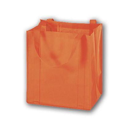 Orange Unprinted Non-Woven Market Bags, 13 x 10 x 15