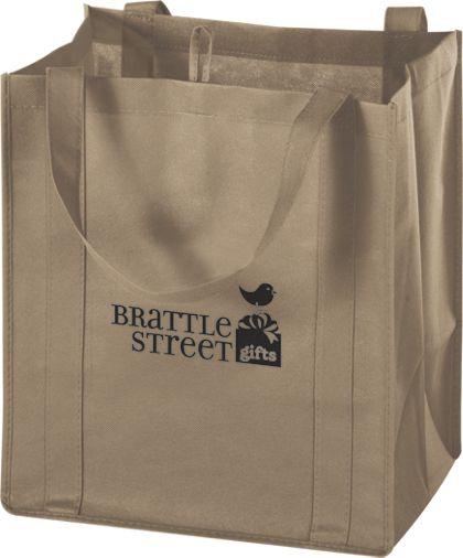 """Tan Non-Woven Market Bags, 13 x 10 x 15"""""""