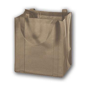 Tan Unprinted Non-Woven Market Bags, 13 x 10 x 15