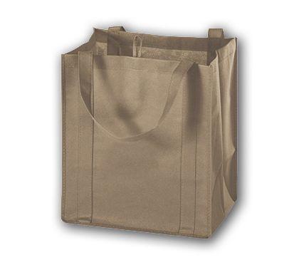 """Tan Unprinted Non-Woven Market Bags, 13 x 10 x 15"""""""