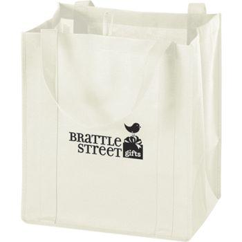 White Non-Woven Market Bags, 13 x 10 x 15