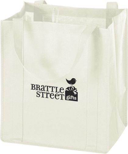 """White Non-Woven Market Bags, 13 x 10 x 15"""""""