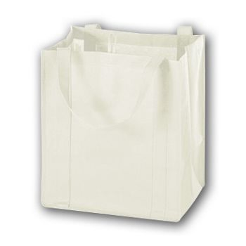 White Unprinted Non-Woven Market Bags, 13 x 10 x 15