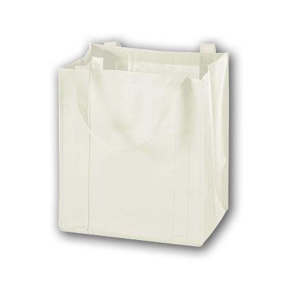 "White Unprinted Non-Woven Market Bags, 13 x 10 x 15"""