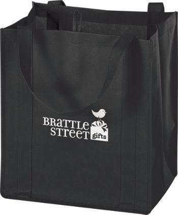 Black Non-Woven Market Bags, 13 x 10 x 15