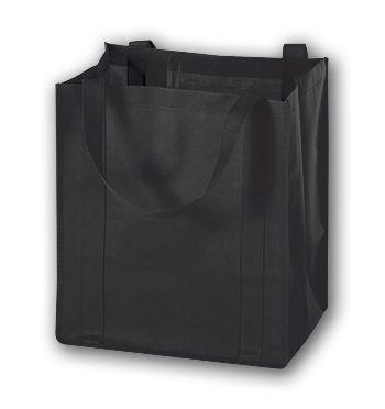 Black Unprinted Non-Woven Market Bags, 13 x 10 x 15