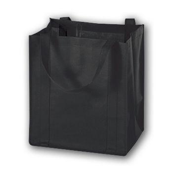 "Black Unprinted Non-Woven Market Bags, 13 x 10 x 15"""