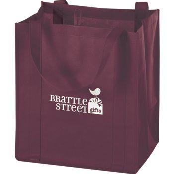 Burgundy Non-Woven Market Bags, 13 x 10 x 15
