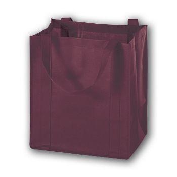 Burgundy Unprinted Non-Woven Market Bags, 13 x 10 x 15