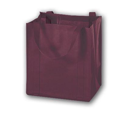 """Burgundy Unprinted Non-Woven Market Bags, 13 x 10 x 15"""""""