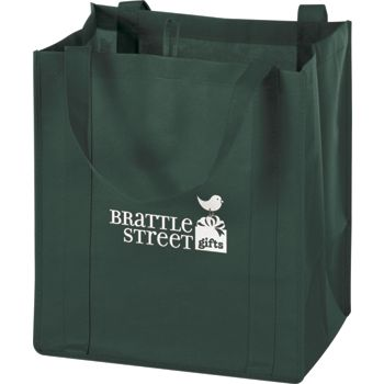 Hunter Green Non-Woven Market Bags, 13 x 10 x 15