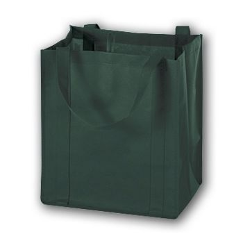 Hunter Green Unprinted Non-Woven Market Bags, 13 x 10 x 15