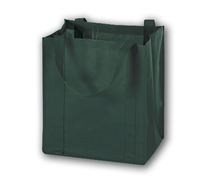 Hunter Green Unprinted Non-Woven Market Bags, 13 x 10 x 15
