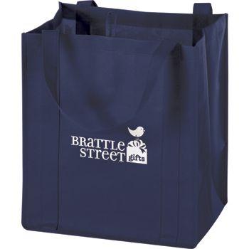 Navy Non-Woven Market Bags, 13 x 10 x 15
