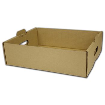 Kraft Handled Trays, 13 1/2 x 11 x 4