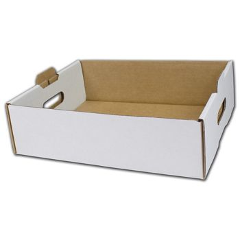 White Handled Trays, 13 1/2 x 11 x 4