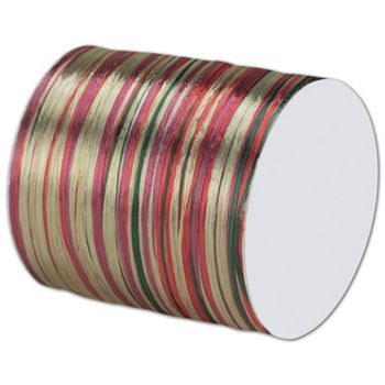 "Raffia Pearl Red/Green Ribbon 1/4"" x 55 Yds"