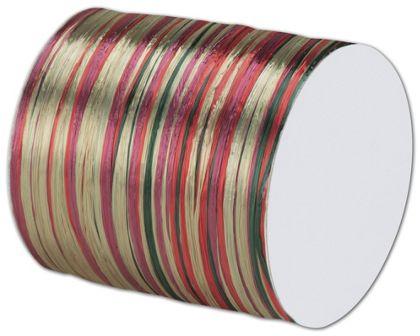 """Raffia Pearl Red/Green Ribbon 1/4"""" x 55 Yds"""