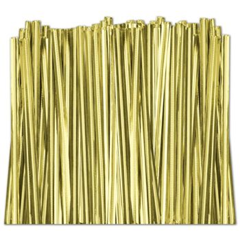Gold Metallic Twist Ties, 4""
