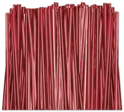 "Red Metallic Twist Ties, 4"""