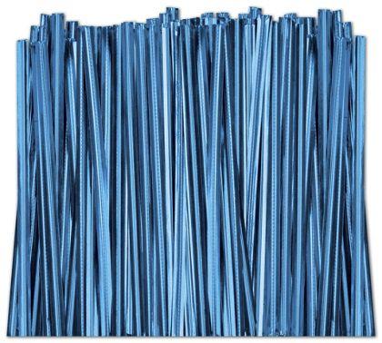 "Blue Metallic Twist Ties, 4"""