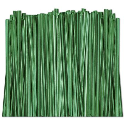 Green Metallic Twist Ties, 4""