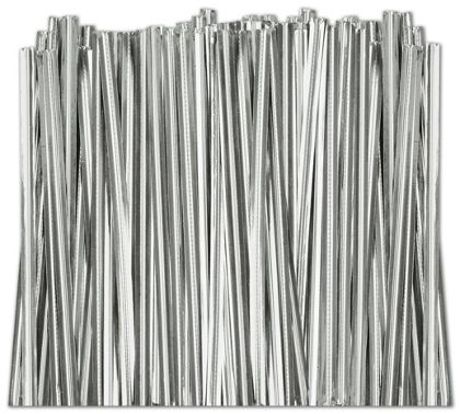 Silver Metallic Twist Ties, 4""