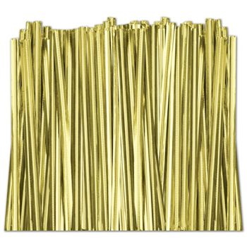 Gold Metallic Twist Ties, 6""