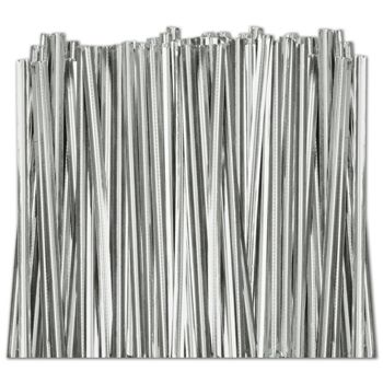 Silver Metallic Twist Ties, 6""