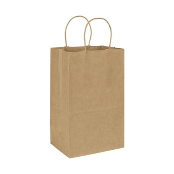 Recycled Kraft Paper Shoppers Debbie, 8 3/4 x 6 x 14