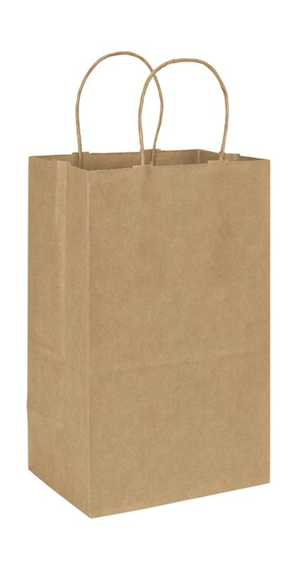 Recycled Kraft Paper Shoppers Debbie, 8 3/4 x 6 x 14""