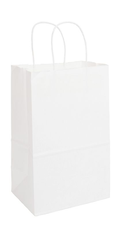Recycled White Kraft Paper Shoppers Debbie, 8 3/4x6x14""