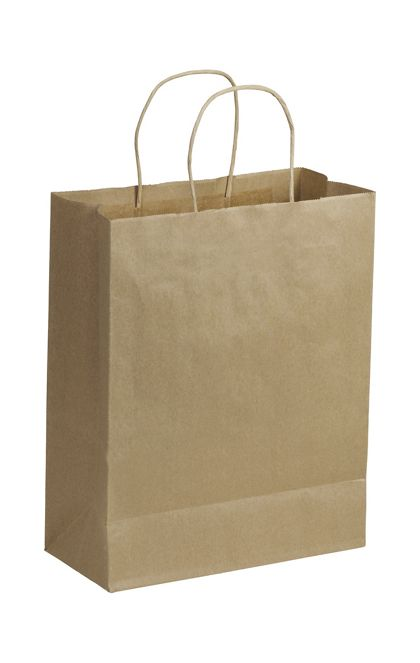 Recycled Kraft Paper Shoppers Lindsey, 10 x 5 x 13""