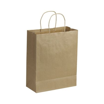 Recycled Kraft Paper Shoppers Lindsey, 10 x 5 x 13
